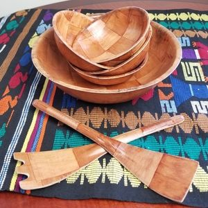 VINTAGE *7 piece* wooden salad serving set